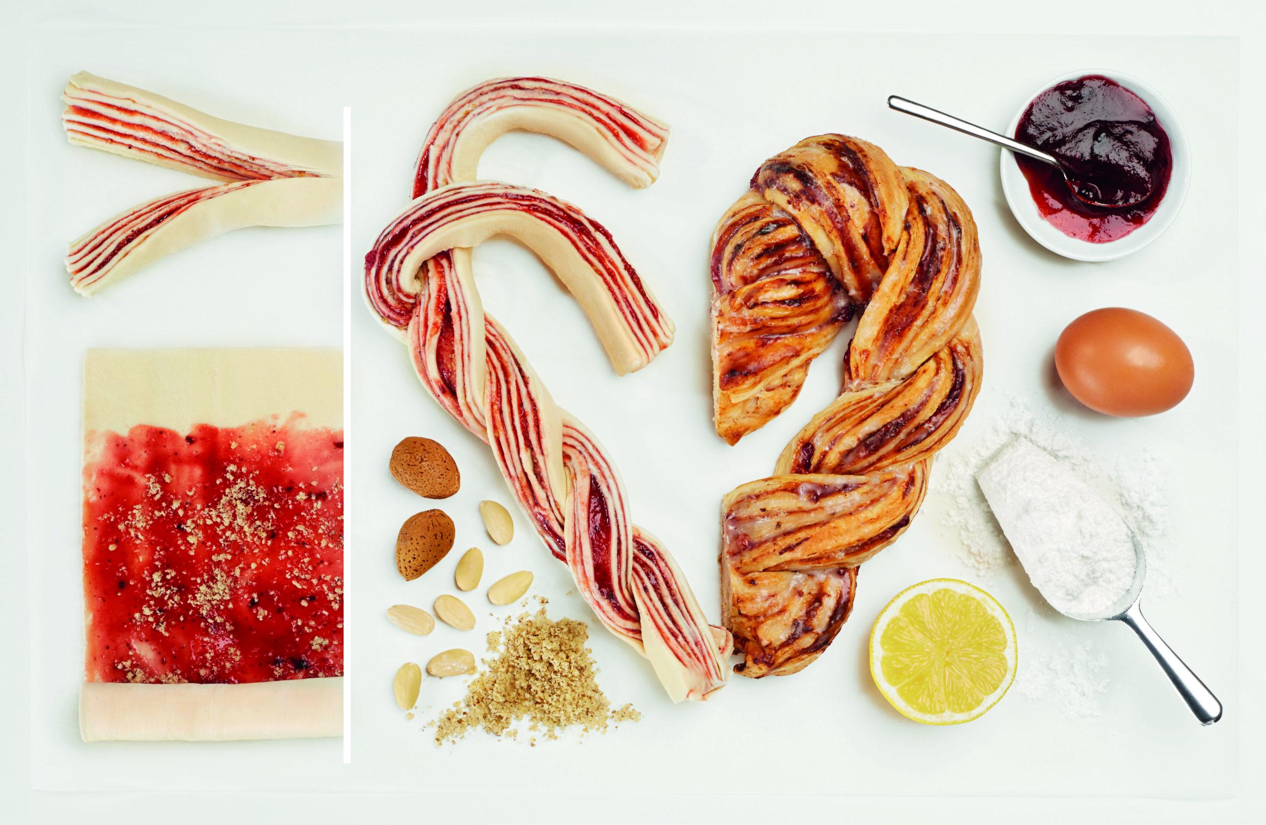 Srce iz listnatega testa z marmelado in mandlji